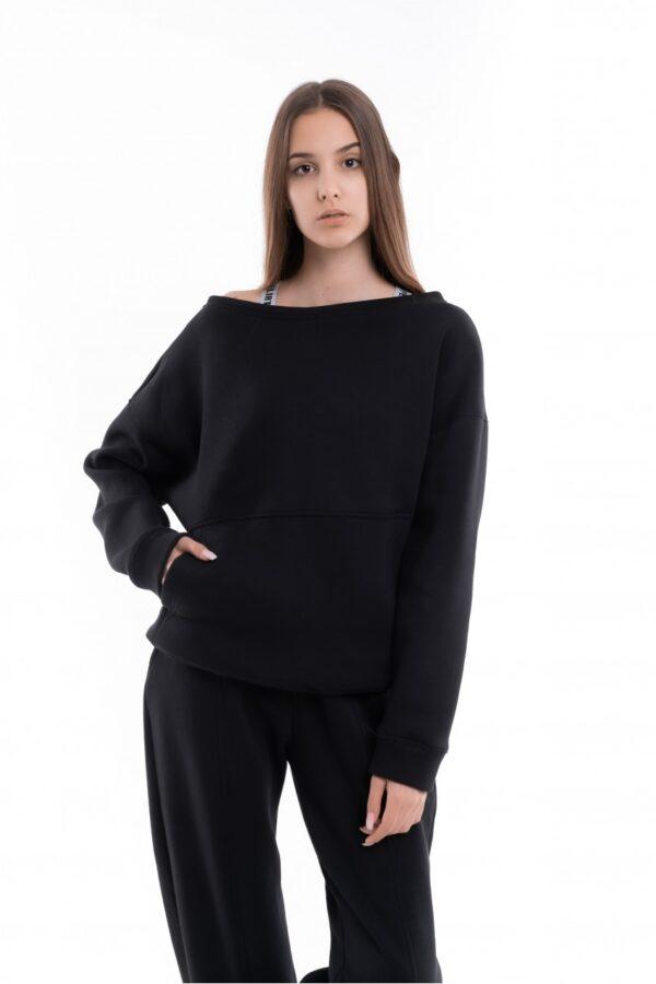 Свитшот женский на флисе Basic Oversize черный