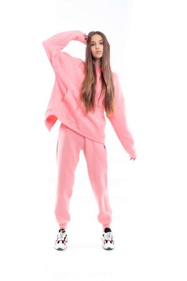 Костюм женский на флисе Basic Oversize розовый