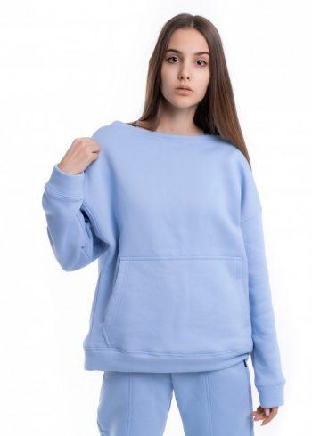 Свитшот женский на флисе Basic Oversize голубой