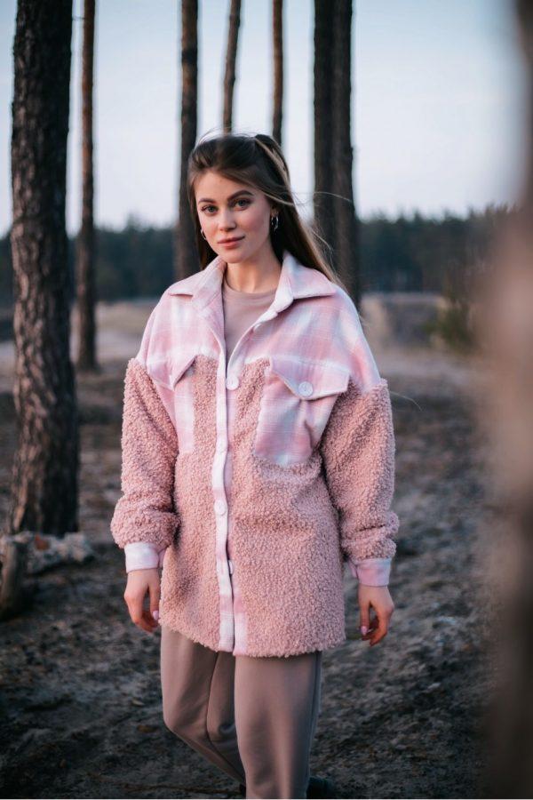 Рубашка женская 'Shon' Intruder Oversize эко-мех розовая