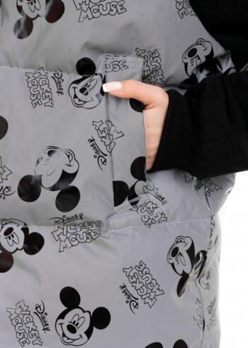 """Жилетка женская """"Zefir"""" рефлекторная с принтом Mickey Mouse серая"""