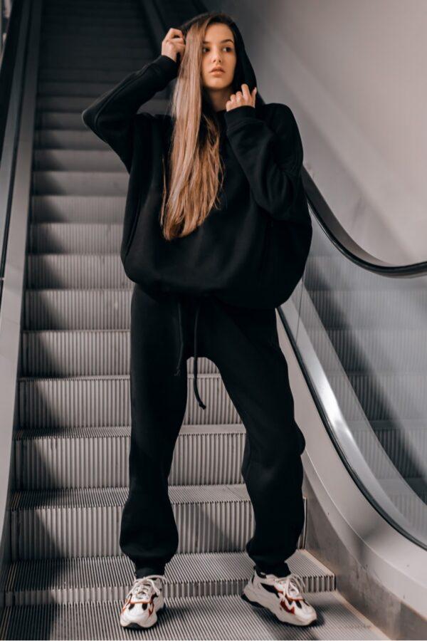 Костюм женский спортивный теплый Intruder Oversize черный