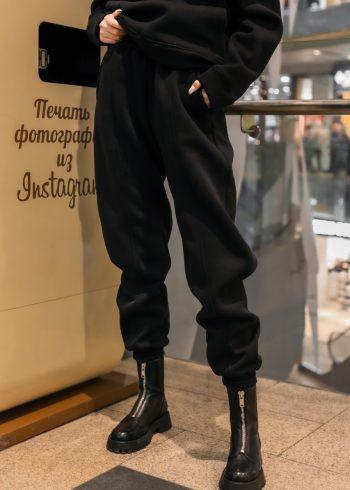 Штаны джогеры женские на флисе Basic Oversize черные