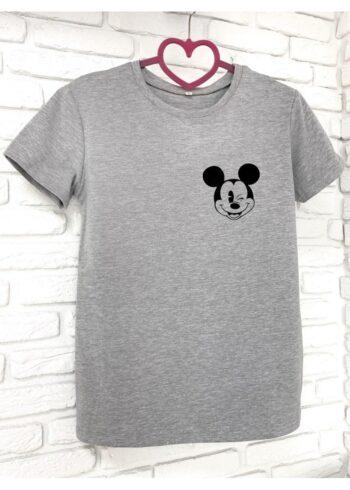 Женская футболка хлопок серая с принтом Mickey Mouse