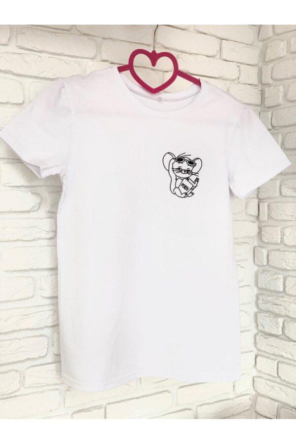 Женская футболка хлопок белая с принтом Jerry