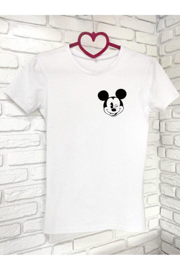 Женская футболка хлопок белая с принтом Mickey Mouse