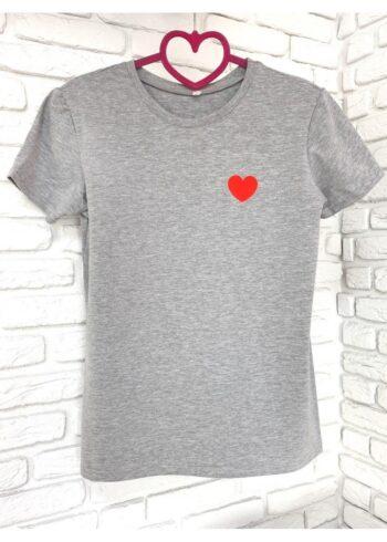 Женская футболка хлопок серая с принтом сердце
