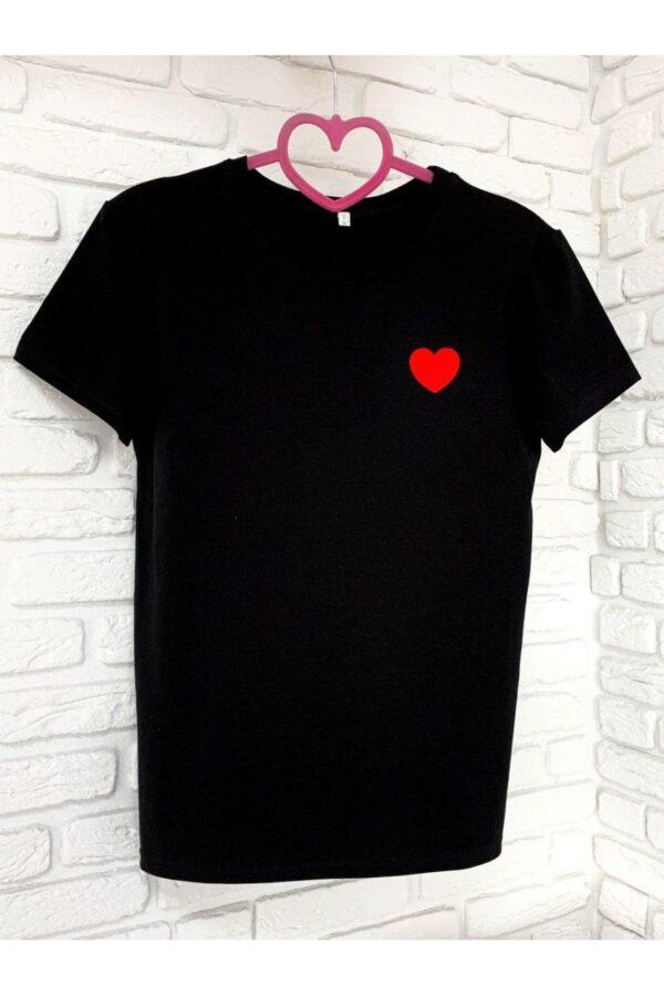 Женская футболка хлопок черная с принтом сердце
