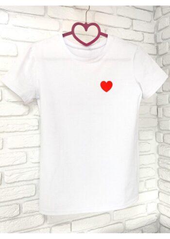 Женская футболка хлопок белая с принтом сердце