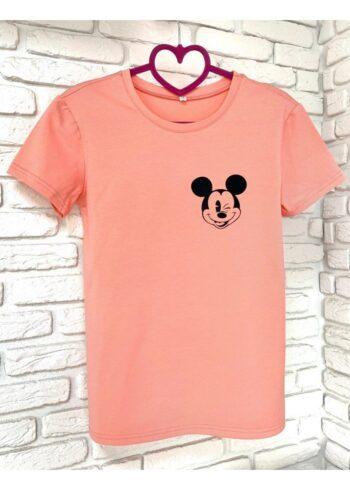 Женская футболка хлопок розовая с принтом Mickey Mouse