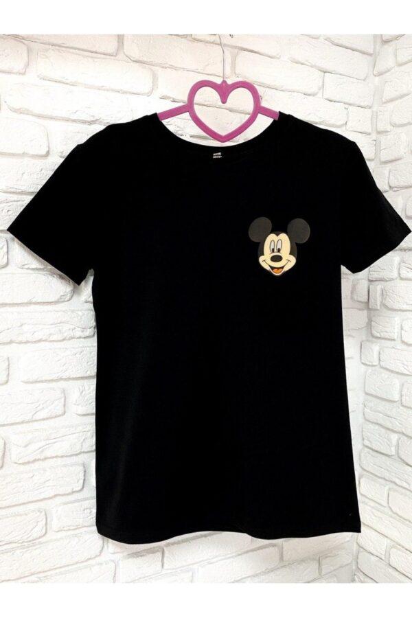 Женская футболка хлопок черная с принтом Mickey Mouse