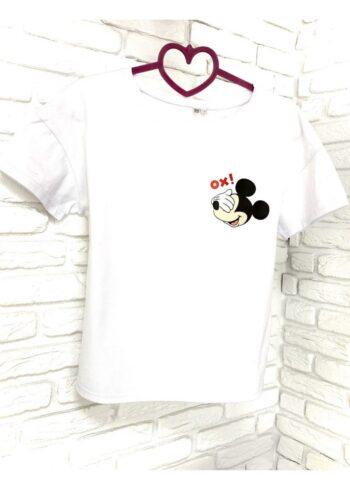 Женская футболка хлопок белая с принтом Mickey Mouse Ox