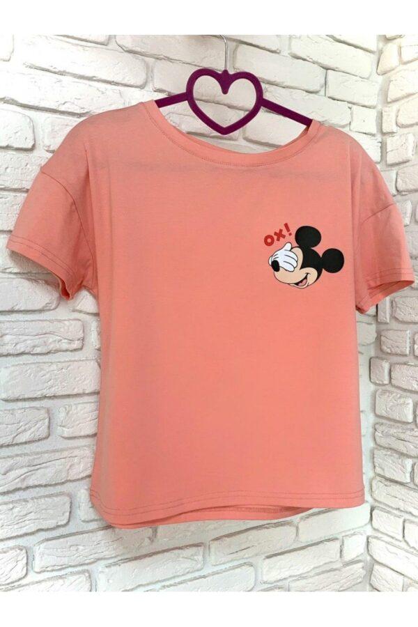 Женская футболка хлопок розовая с принтом Mickey Mouse Ox