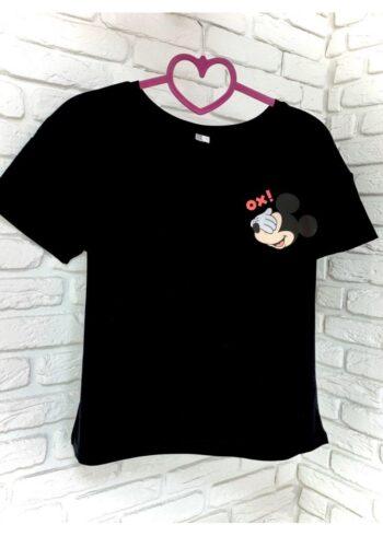 Женская футболка хлопок черная с принтом Mickey Mouse Ox