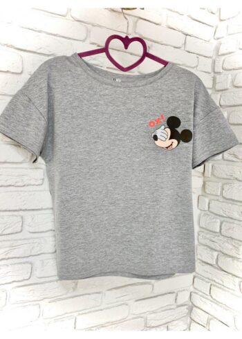 Женская футболка хлопок серая с принтом Mickey Mouse Ox