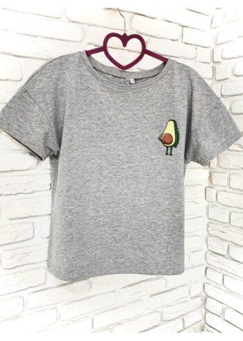 Женская футболка хлопок серая с принтом Avocado