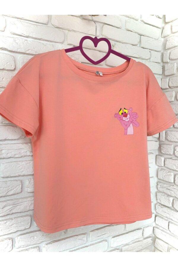Женская футболка хлопок розовая с принтом Pink panther