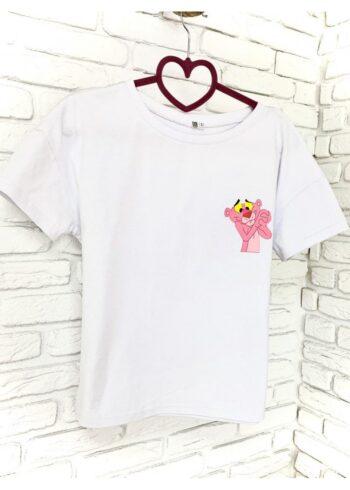 Женская футболка хлопок белая с принтом Pink panther
