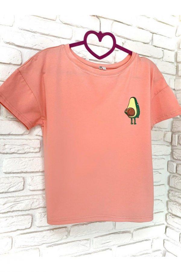 Женская футболка хлопок розовая с принтом Avocado