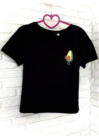 Женская футболка хлопок черная с принтом Avokado