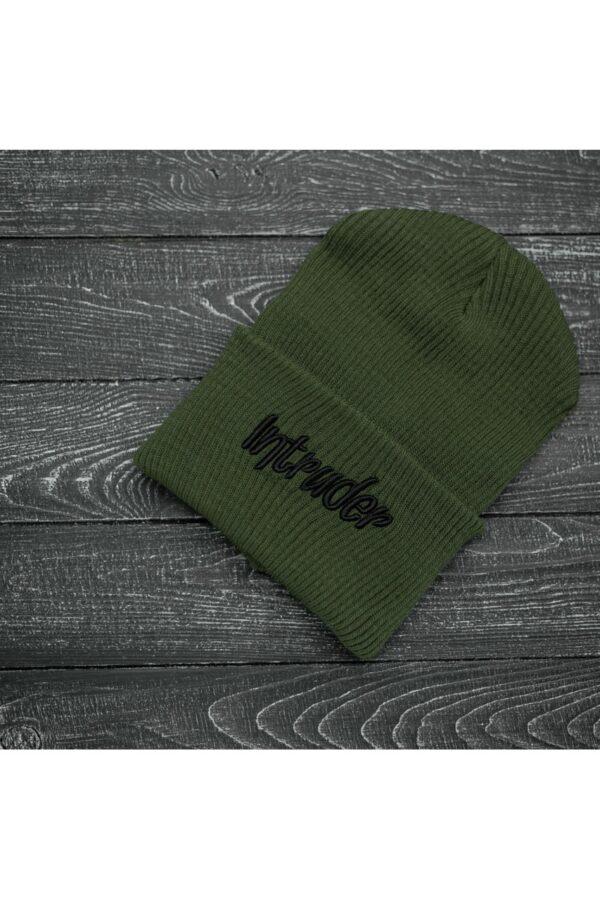 Шапка big logo хаки + перчатки Intruder черные зимний комплект