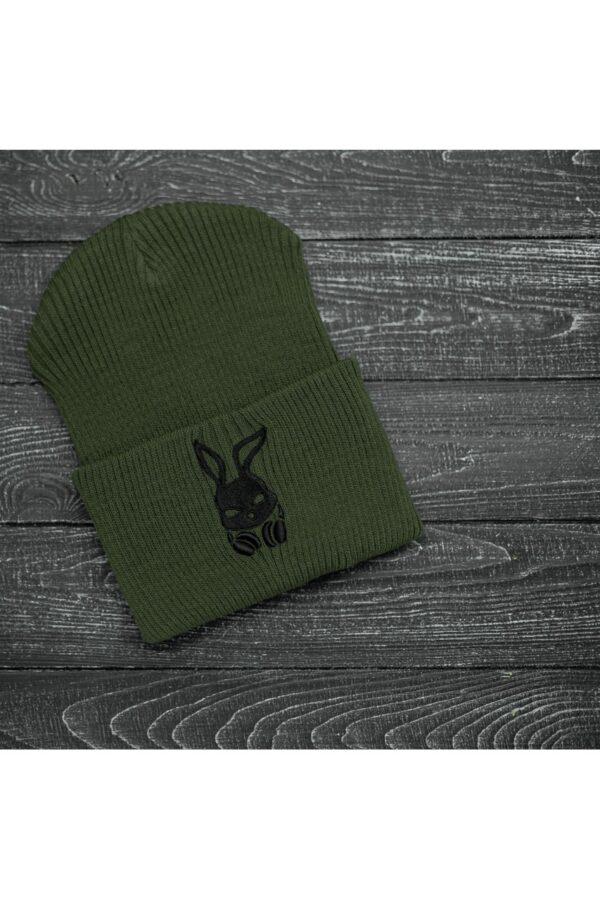 Шапка bunny logo хаки + перчатки Intruder черные зимний комплект