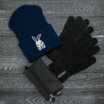 Шапка bunny logo синяя + перчатки Intruder черные зимний комплект