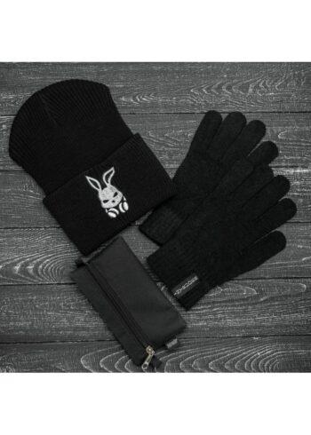 Шапка bunny logo + перчатки Intruder + перчатки черные, зимний комплект