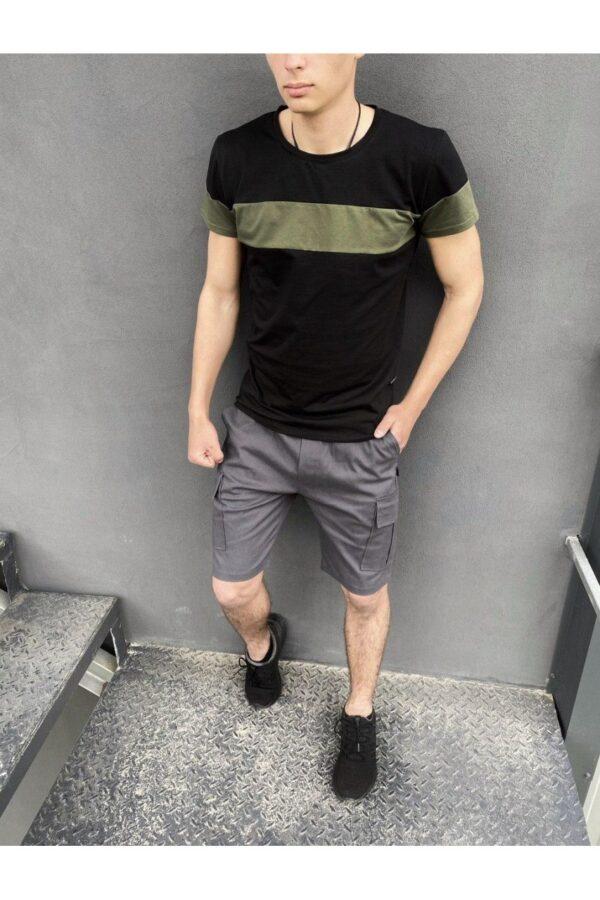 """Комплект Футболка """"Color Stripe"""" черный - хаки + Шорты Miami серые Intruder"""