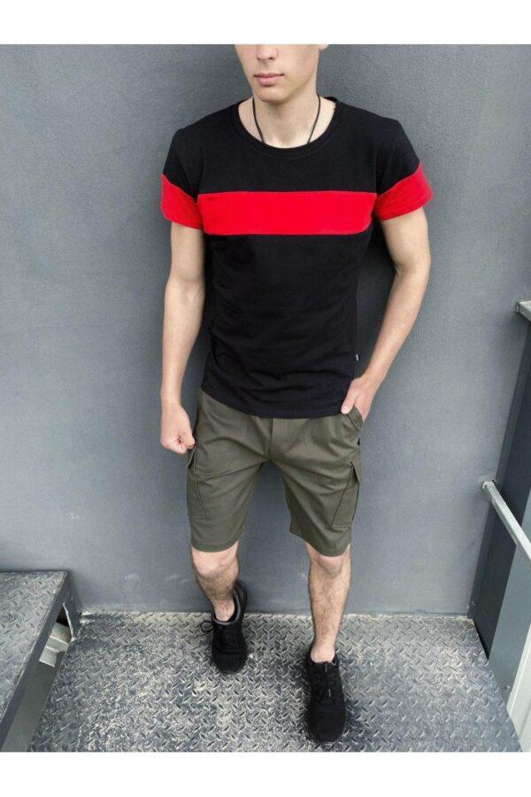 """Комплект Футболка """"Color Stripe"""" черно - красная + Шорты Miami хаки Intruder"""