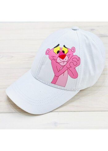 Кепка женская с принтом Pink Panther белая