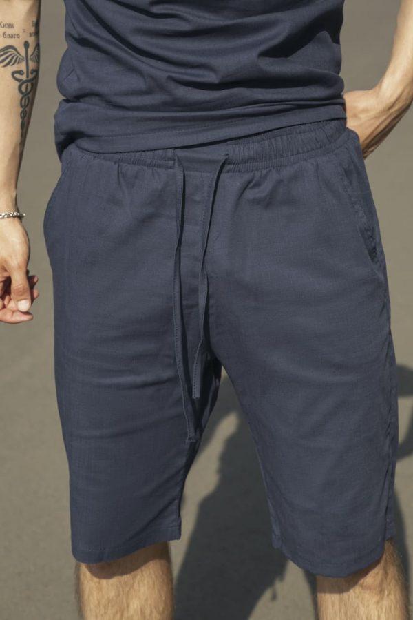 """Комплект льняной Intruder """"Flax"""" футболка поло + шорты черный"""