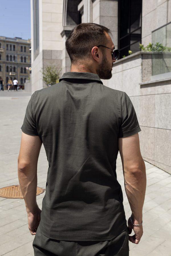 """Комплект льняной Intruder """"Flax"""" футболка поло + шорты хаки"""